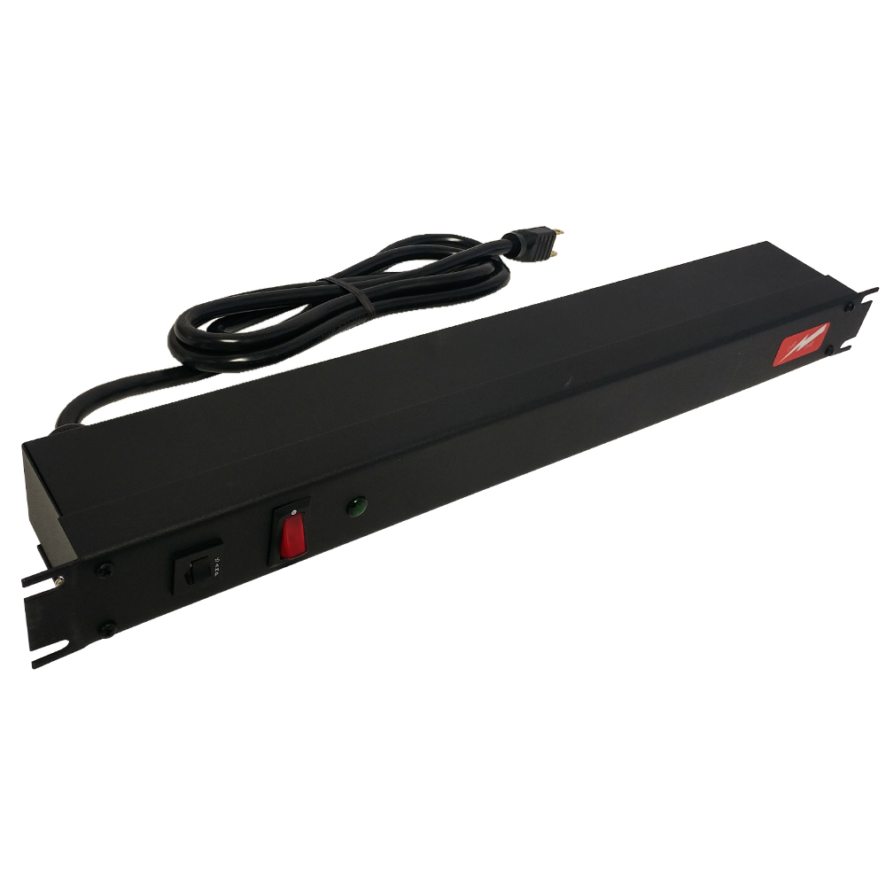 1583H6A1SBK: Power strip with surge protection - horizontal rackmount, 6ft 5-15P cord, rear 6-out 5-15R