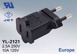 A-716115RMF: CEE 7/16 (euro) Male to 1-15R Female power adapter