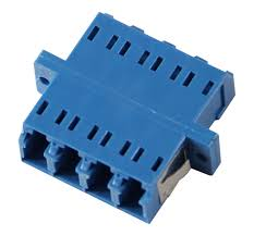 A-LCLCFFQ: LC/LC fiber coupler F/F singlemode quad ceramic panel mount, blue