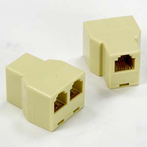 A-RJ12TF2: RJ12/RJ11 tee connector 1 to 2 Female