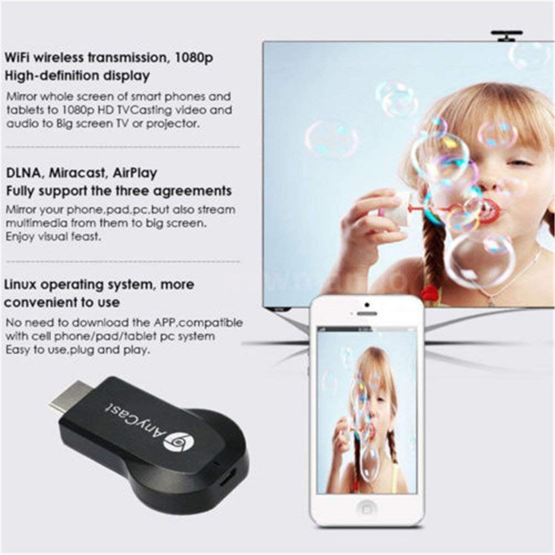 ACM9: 1080P Upgraded New Edition M9 Plus Support chromecast Screen Mirror Dongle Digital AV to HDMI Compatible with iOS/Android