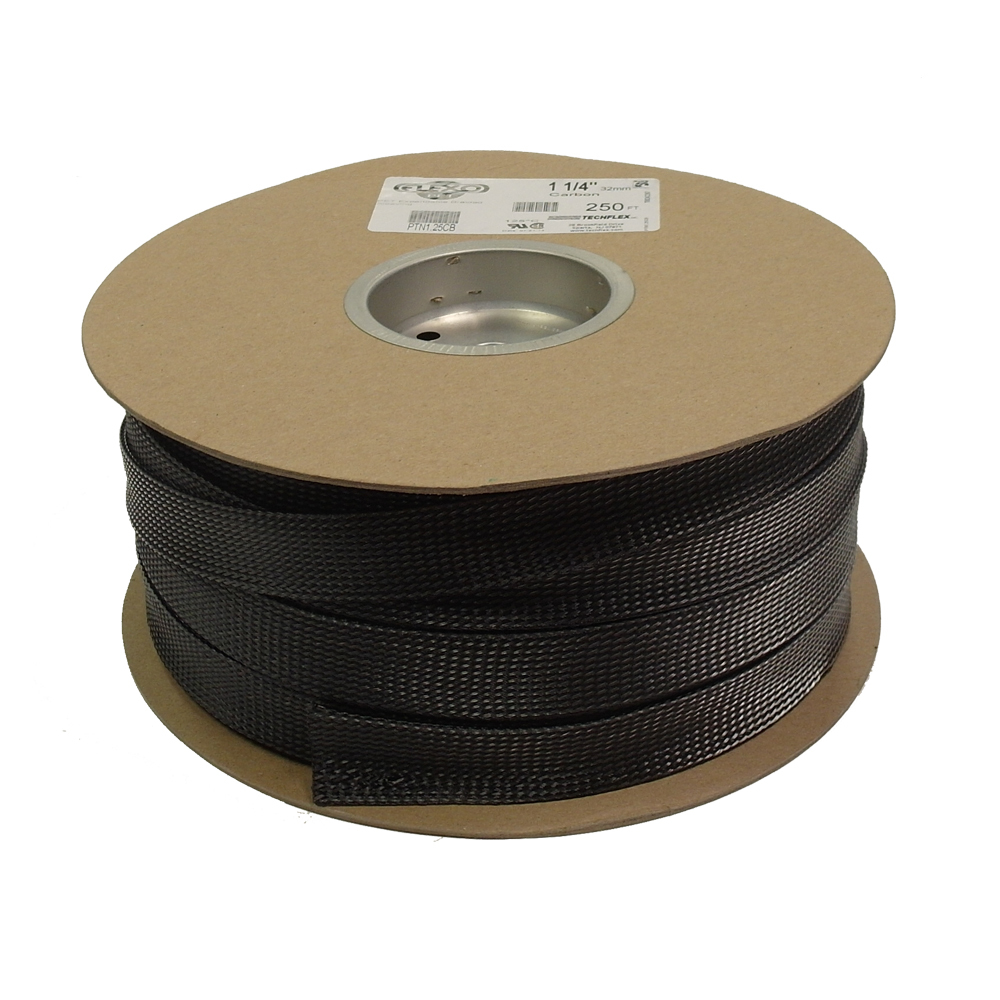 BS-PT125-250CB: 250ft 1 1/4 inch Sleeving Carbon