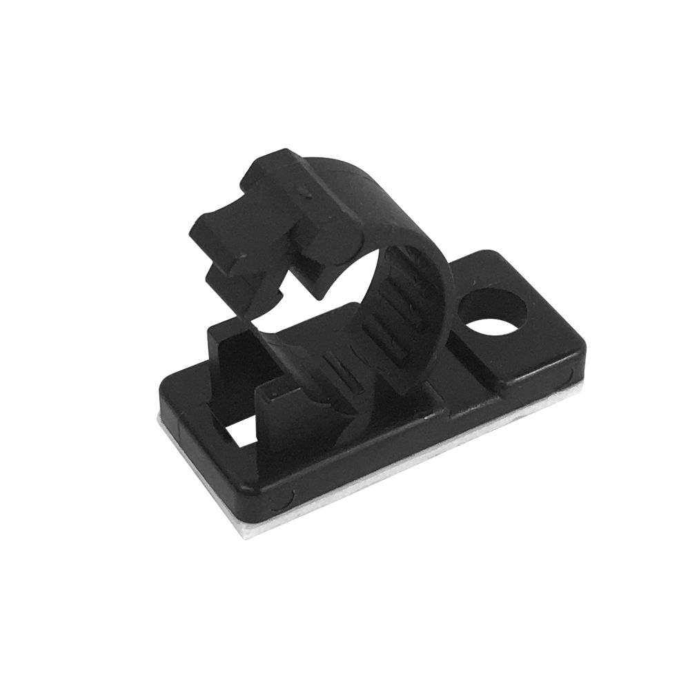 CC-205-BK: 100pk Cable Clamp, 7.5mm OD Cable, Self-Adhesive or Screw-Down - Black