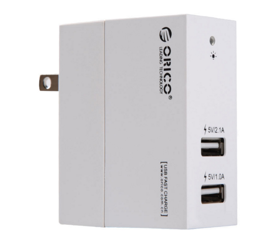 DCB-2U: 2 Ports 5V/1A*1, 5V/2.1A*1, total: 5V/3.1A USB Wall Charger for Tablet Device