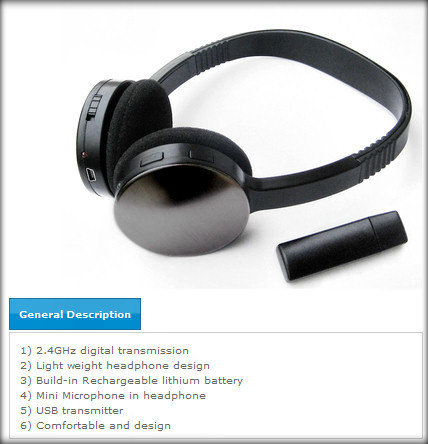 HF-HEADSET-D-SF382: 2.4GHz Wireless Headphone w/mic