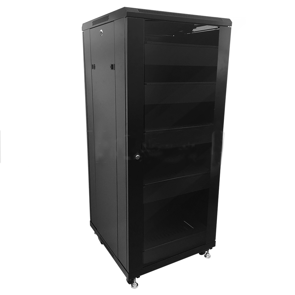HF-ANC27: 27U A/V and Networking Cabinet - Pre-Loaded with Fan Top, 5 Shelves & Blank Panels - Black