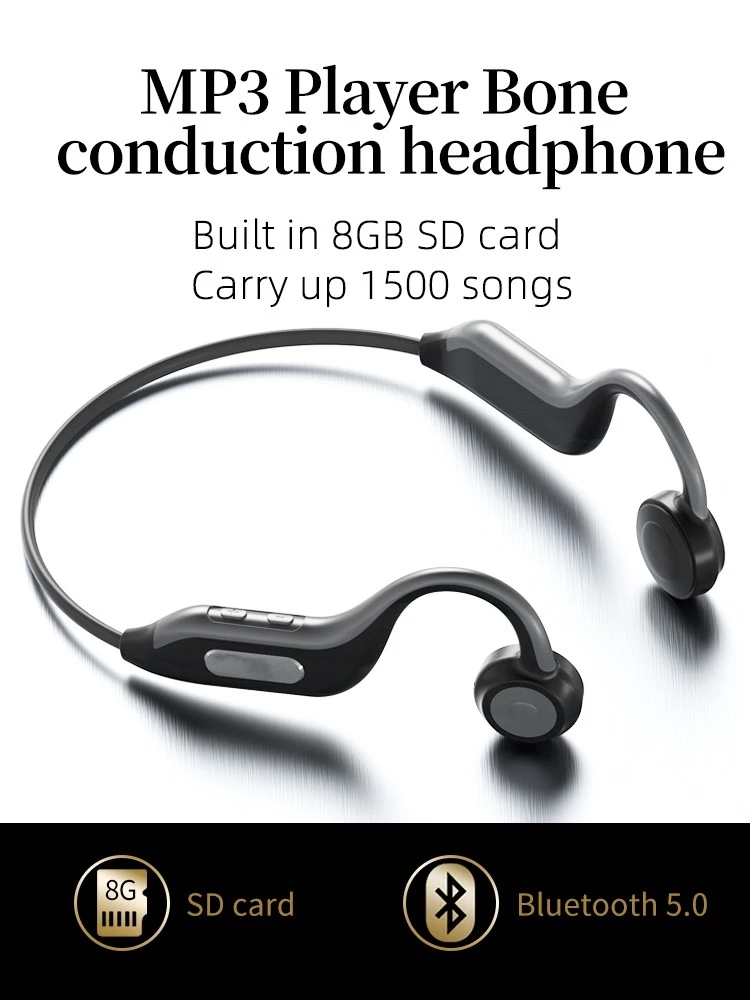 HF-B1: Bone Conduction Bluetooth 5.0 Outdoor Sport Waterproof Wireless Headphones with 8G built-in SD