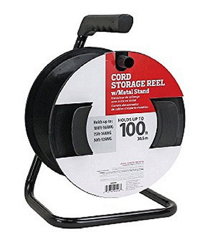 HF-CR-100: Cord Reel with Metal Stand - Black