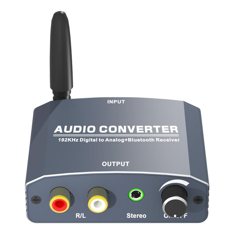 HF-DAABT5:Digital Coax or Toslink SPDIF to Analog RCA L/R Audio Converter Adapter with Bluetooth 5.0 Receiver Support 192KHz
