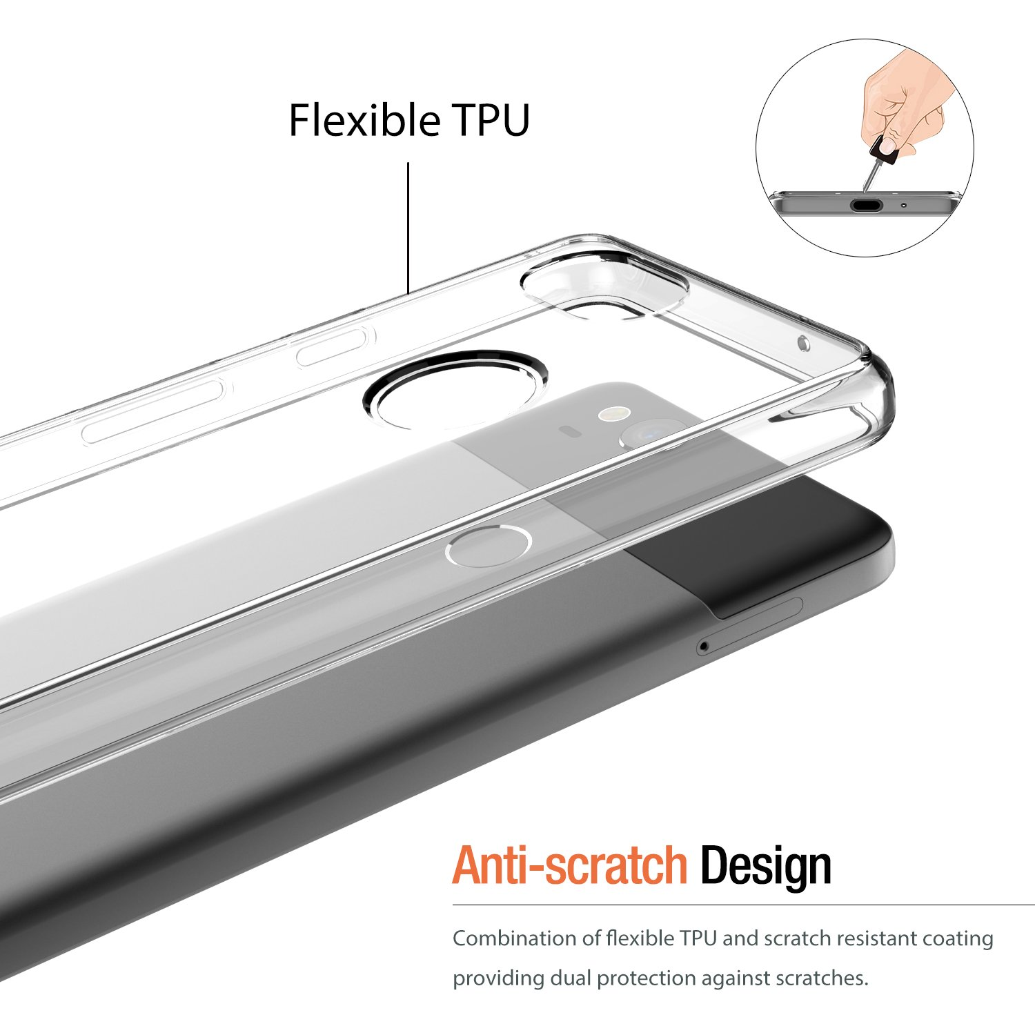 HF-GPC-C: Clear TPU Protective Case FOR Google PIxel Smart Phone