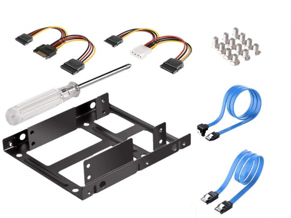 "HF-HDD-SDD-KIT: 2.5"" Convert to 3.5"" HDD/SDD Double Mount with SATA Data & Power Cables"