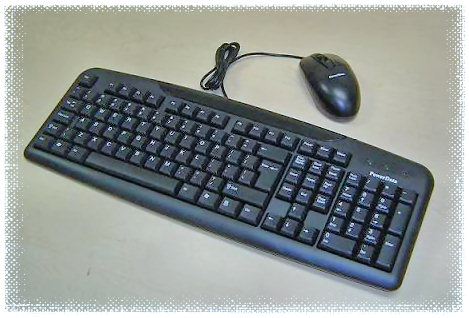 HF-KB-USB-COMBO: Black USB Keyboard + USB Wheel Mouse Combo