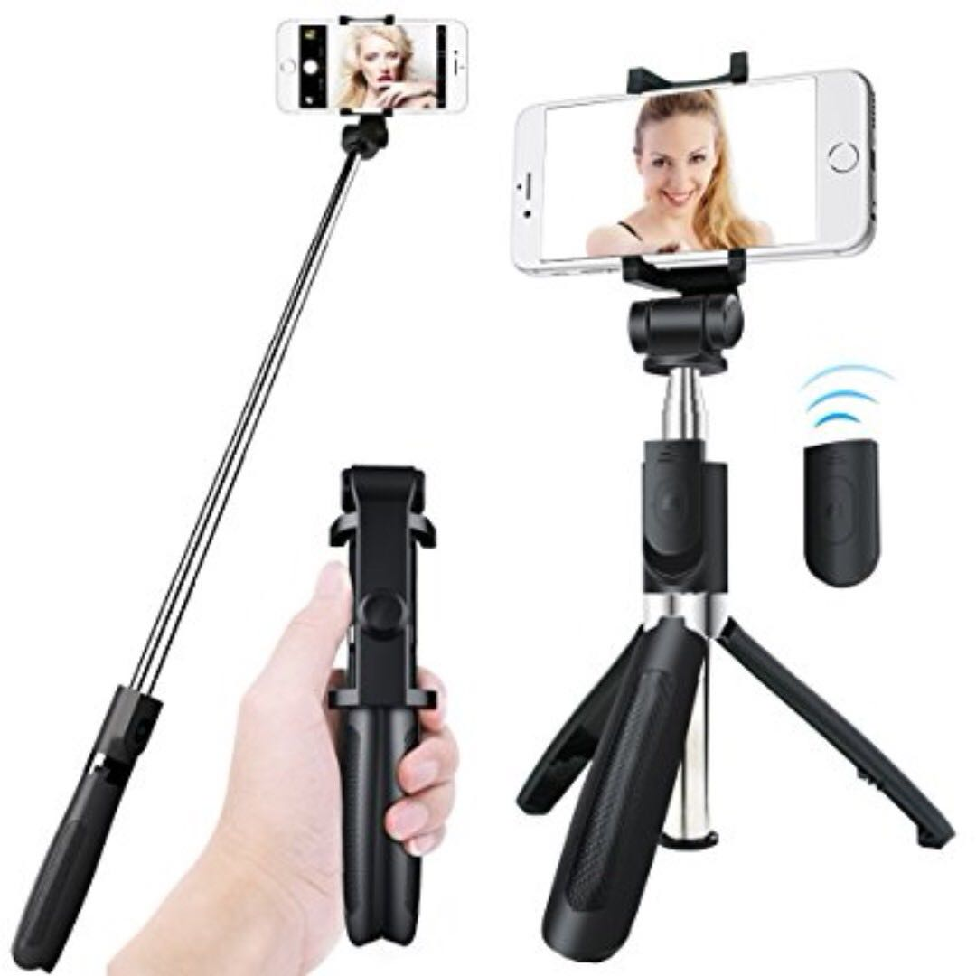 HF-L01: 360 Degree Rotatable Extendable Tripod Selfie Stick with Bluetooth Remote Control ---black