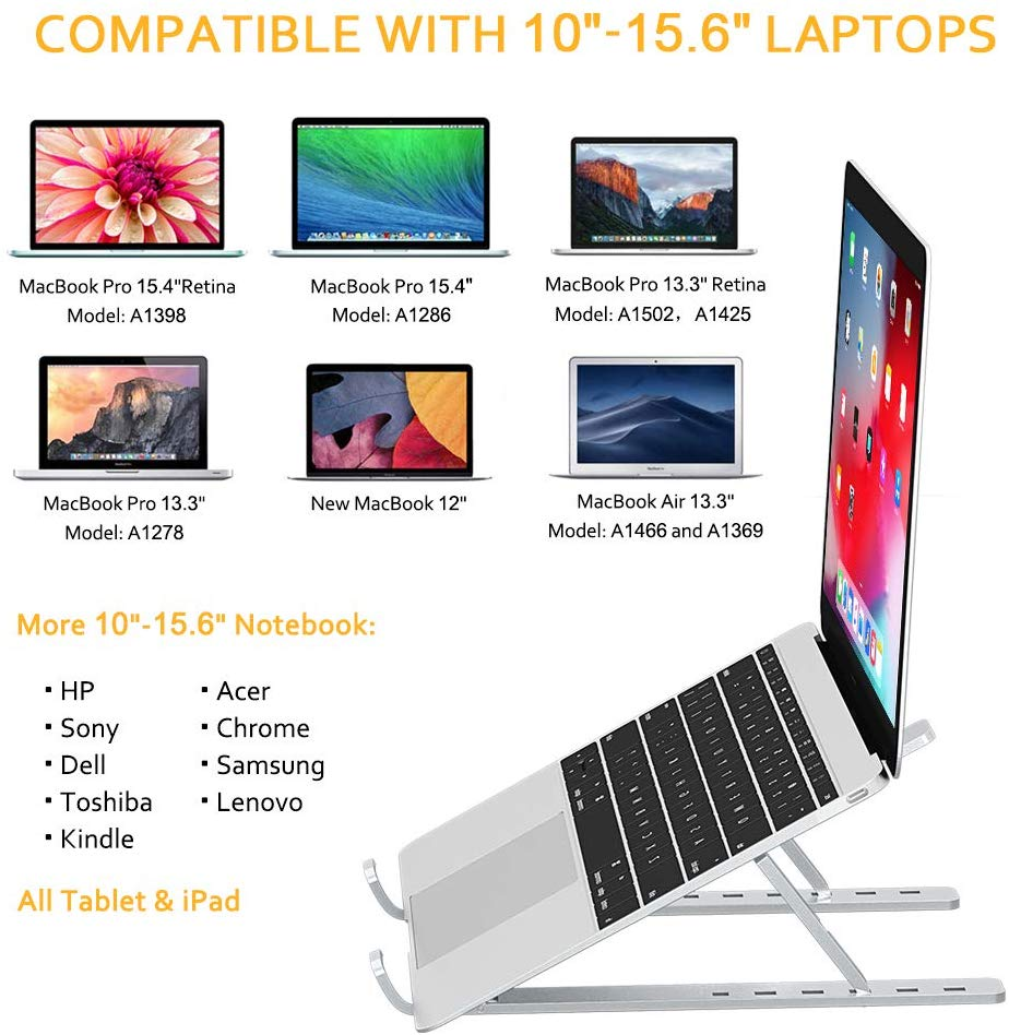 "HF-LS1: Portable Laptop Stand, Aluminum Ventilated Computer Stand, [Adjustable] [Foldable] [Lightweight] Universal Laptop Desk Stand Holder for MacBook, Dell XPS, HP, More 10-15.6"" Laptops Tablet iPad"
