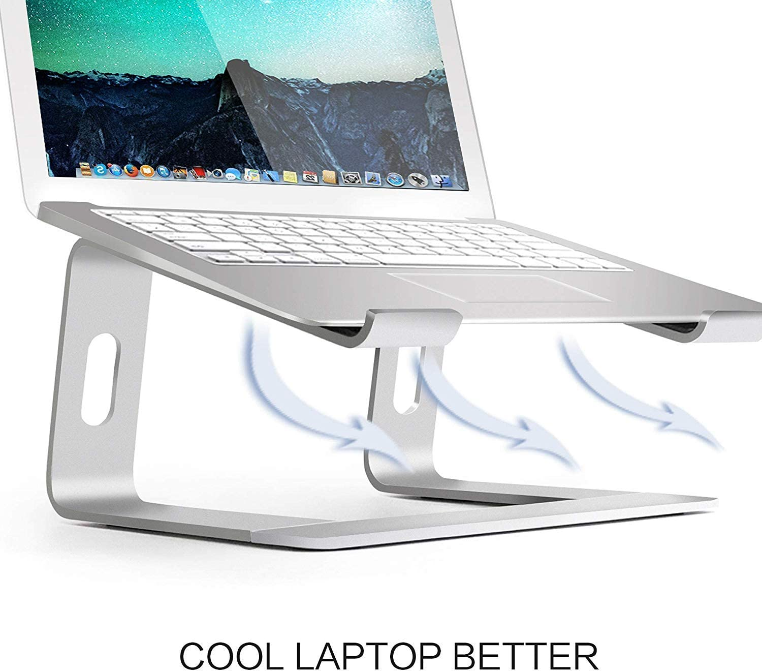 HF-LSH: Aluminum Laptop Stand for Desk Compatible with Mac MacBook Pro Air Apple Notebook, Portable Holder