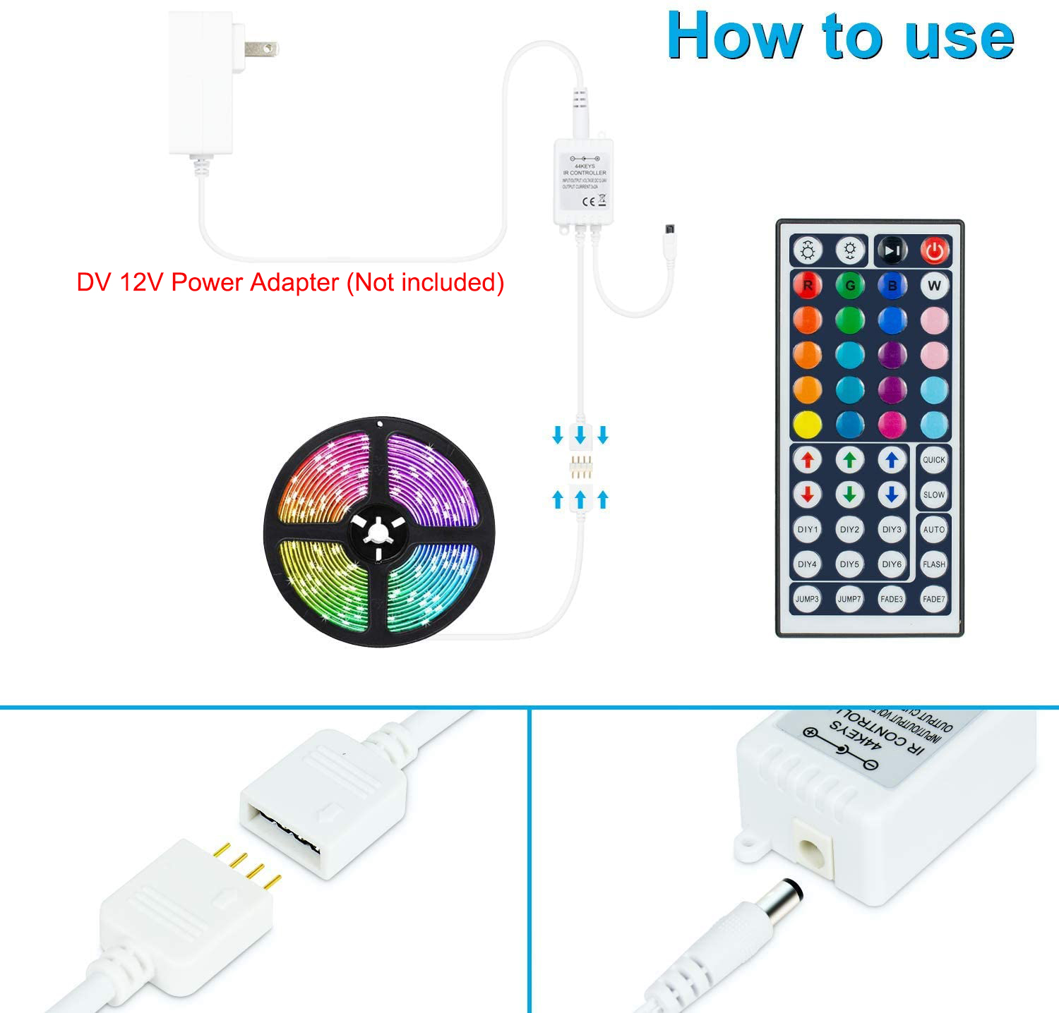 HF-MCLED44: Led Light Remote Controller Kit, 1-Port 44 Keys Wireless IR Remote with Receiver for RGB 5050 2835 LED Strip Lights