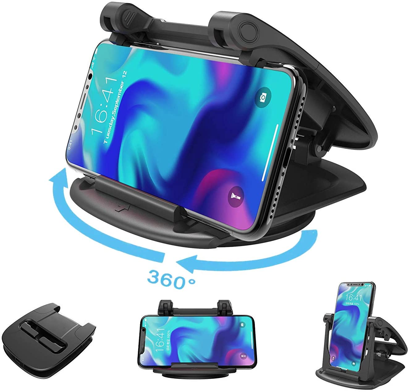 HF-N1C-SH: Universal 360 Degree Rotatable Car Dashboard Phone Mount Hold Phones Vertically/Horizontally,Car Cell Phone Holder Compatible with GPS,iPhone 7 6 6s X XS 8 Plus Samsung S9 S8 S7 S6 Note 8 Google