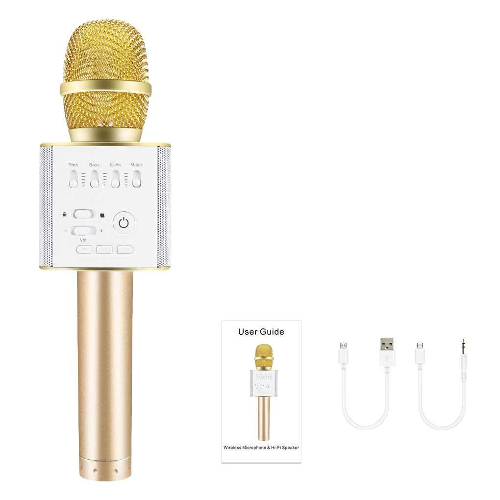 HF-Q9: Wireless Karaoke Mic KTV Player Condenser with Bluetooth Speaker for iPhone, Android
