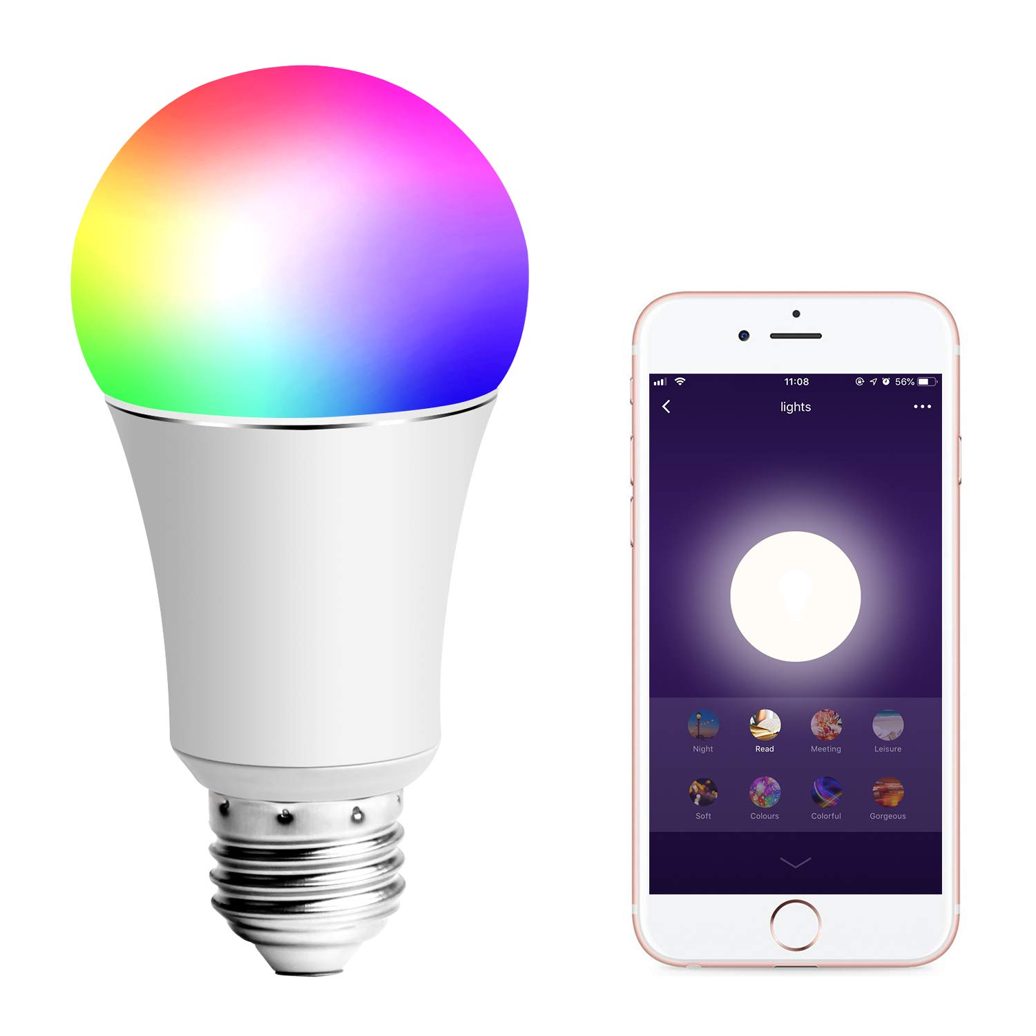HF-SBE27-9: 9W E27 RGB LED Smart Bulb,WiFi Light Bulb,Multicolor,Dimmable