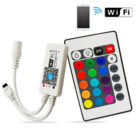 HF-SW-LED: Mini Wifi RGB LED Controller + IR 24 Key Remote Control for Strip Lights (Android/iOS Support)