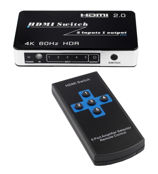 HF-U501-20: 5X1 HDMI 2.0 4K@60hz switch 4K Blue-ray 3D HDMI support HDCP2.2 with/remote