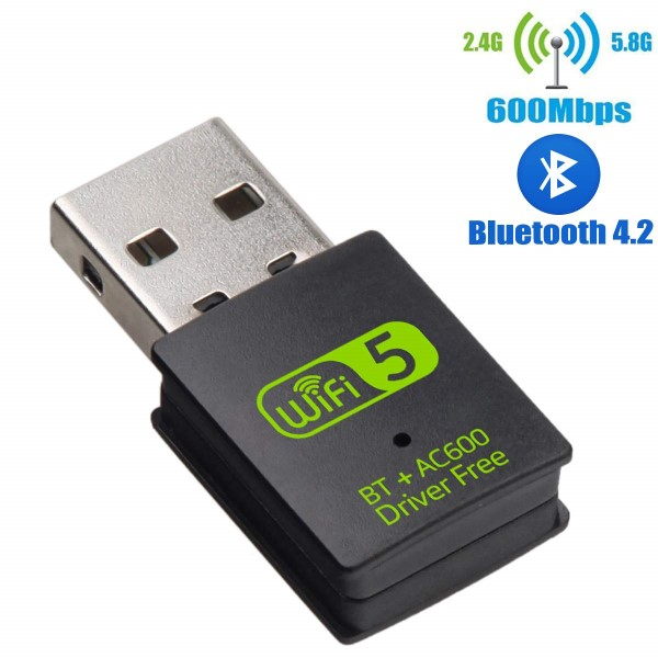HF-UWB600: 600Mbps USB Wifi AC 2.4G+5G + Bluetooth 2 in 1 Adaptor