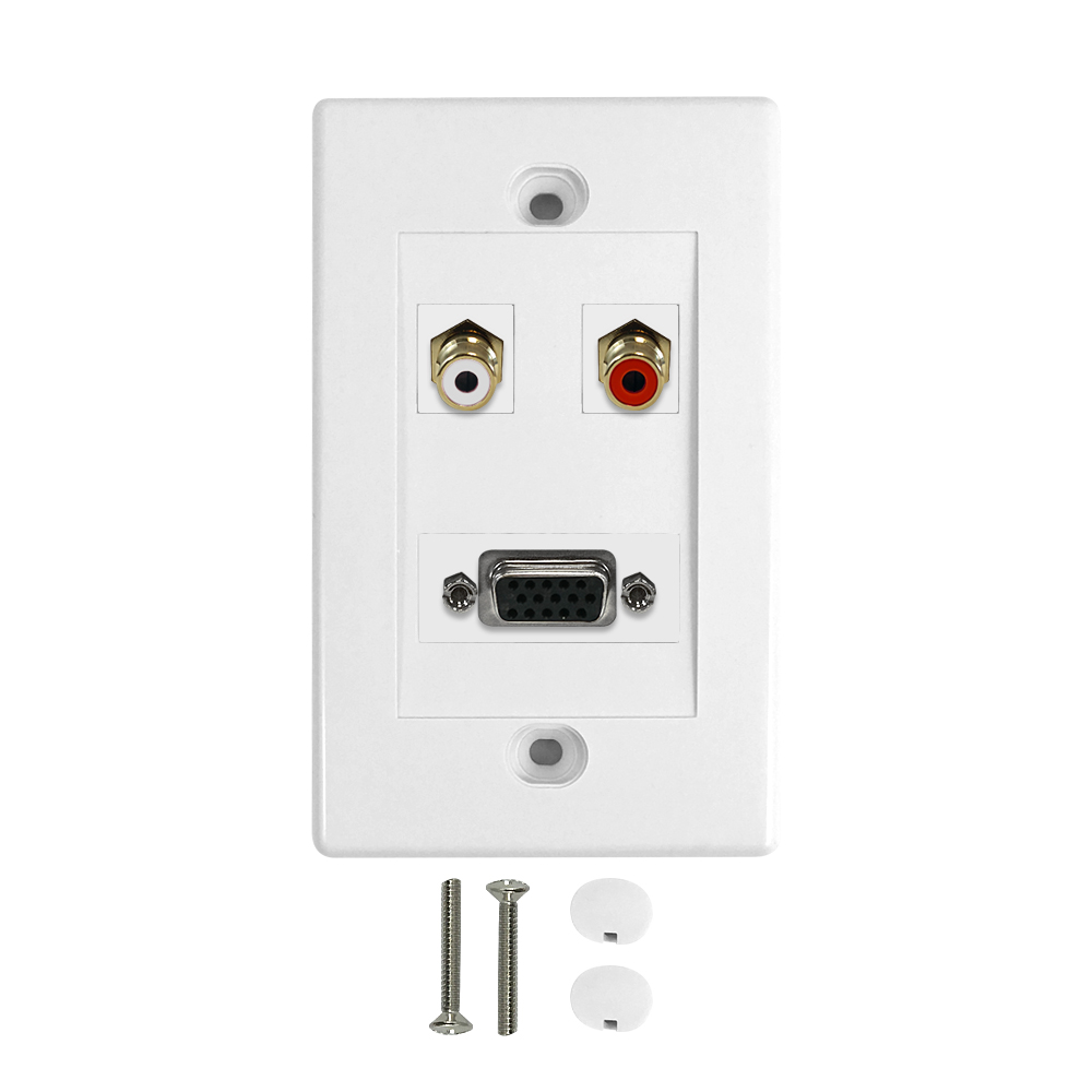 HF-VLRA-1: 1-Port VGA + Left/Right Audio Wall Plate Kit - White