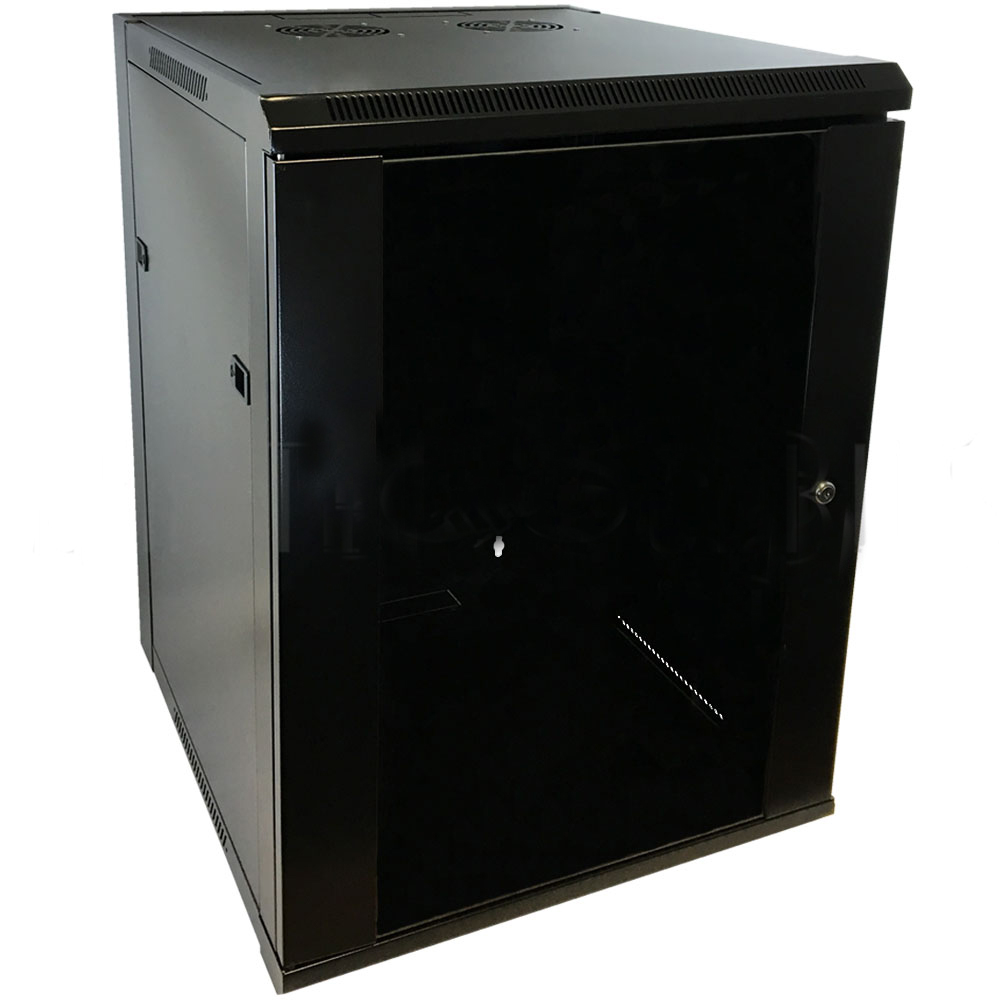 "HF-WC15U230: Wall Mount Cabinet 15U x 23"" Usable Depth, Glass Door, Fans - Black"