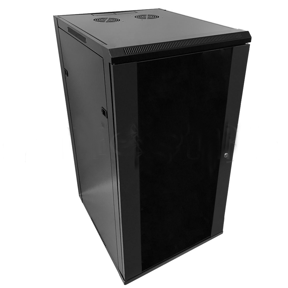 "HF-WC22U230: Wall Mount Cabinet 22U x 23"" Usable Depth, Glass Door, Fans - Black"