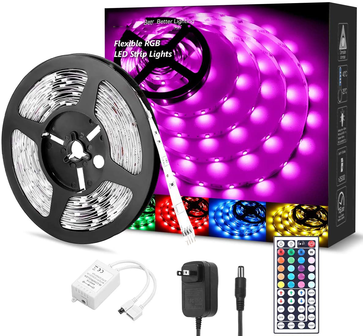 HF-WC5050LED5M: 5m / 16.4 ft RGB LED Light Strips Kit, Color Changing with 44 Keys with Remote Control and 12V Power Supply
