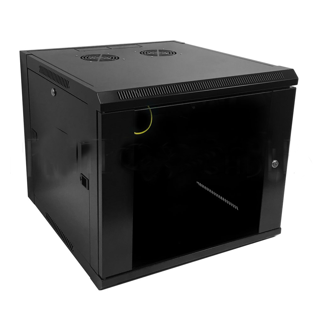 "HF-WC9U195: Wall Mount Cabinet 9U x 19.5"" Usable Depth, Glass Door, Fans - Black"