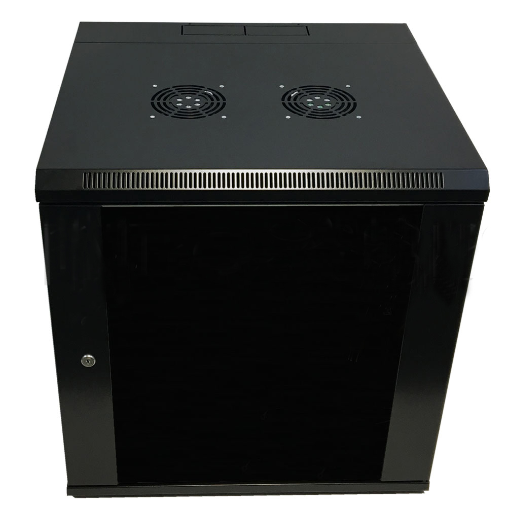 "HF-WCS12U185: Wall Mount Swing-Out Cabinet 12U x 18.5"" Usable Depth, Fans - Black"
