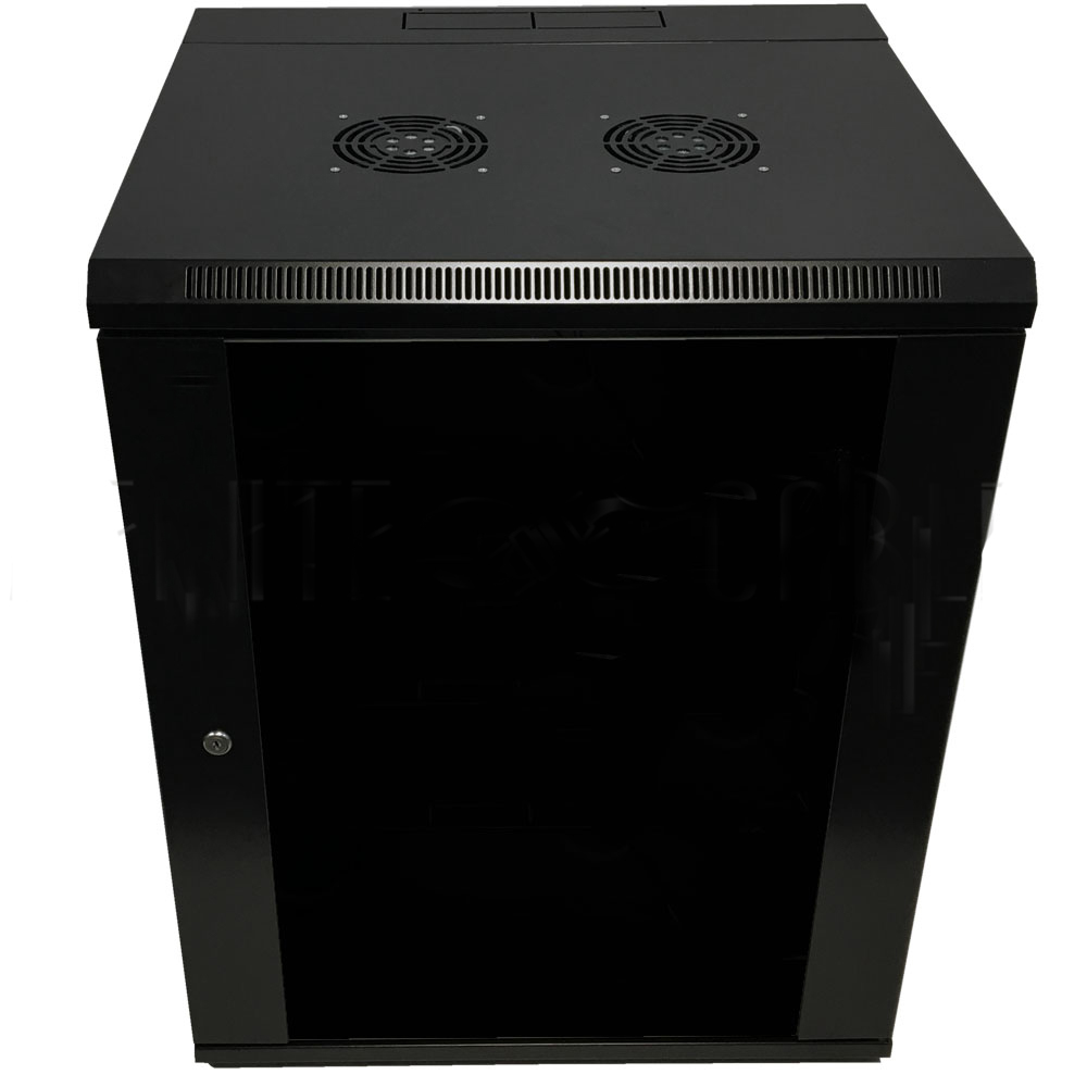 "HF-WCS15U185: Wall Mount Swing-Out Cabinet 15U x 18.5"" Usable Depth, Fans - Black"