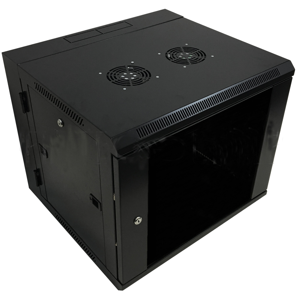 "HF-WCS9U185: Wall Mount Swing-Out Cabinet 9U x 18.5"" Usable Depth, Fans - Black"