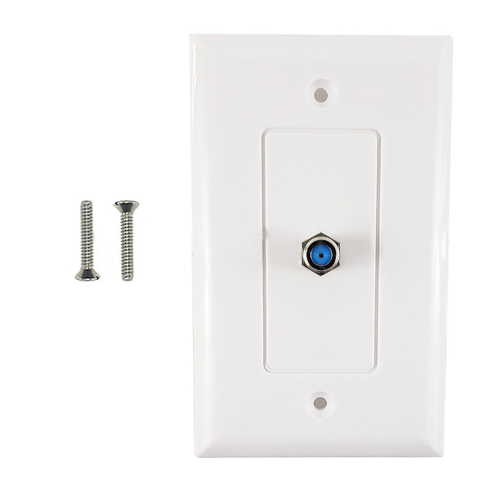 HF-WPK-3GTV-WH: Single Gang Decora Style 3Ghz Coax Wall Plate - White