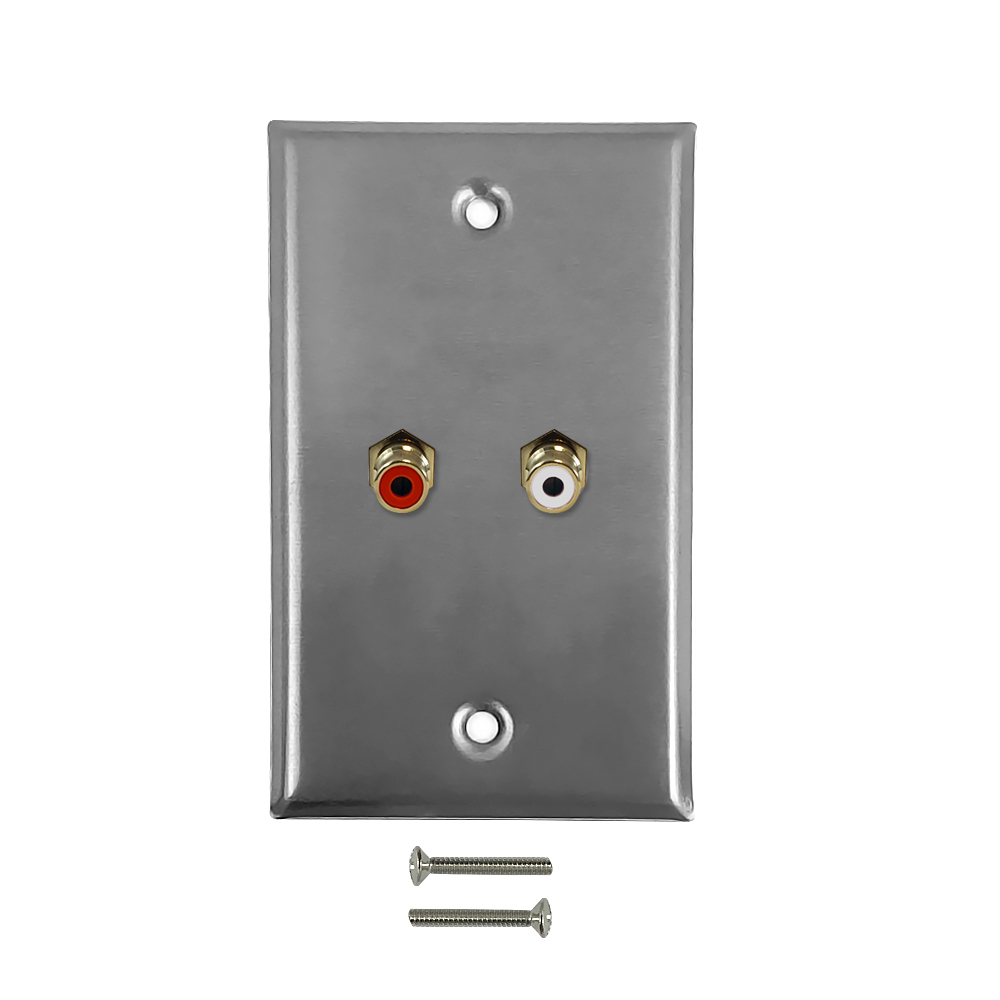 HF-WPK-CA: RCA Left/Right Audio Single Gang Wall Plate Kit - Stainless Steel
