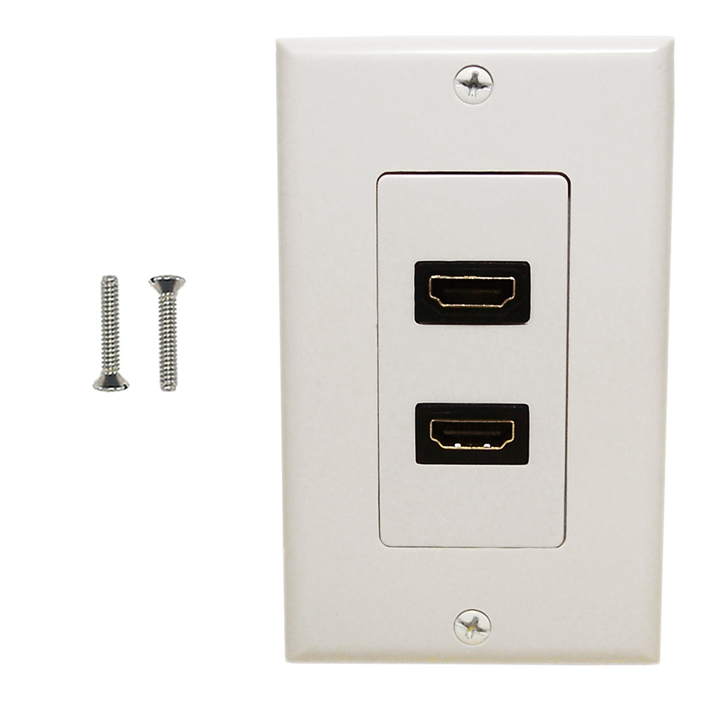 HF-WPK-H2: 2-Port HDMI Wall Plate Kit Decora White