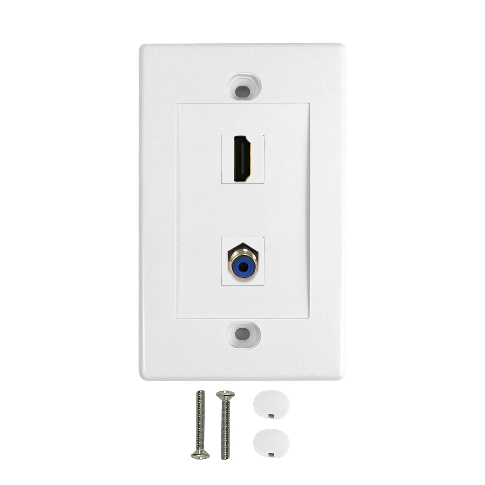 HF-WPK-HDC-1: 1-Port HDMI + 1-Port Digi-Coax Wall Plate Kit - White