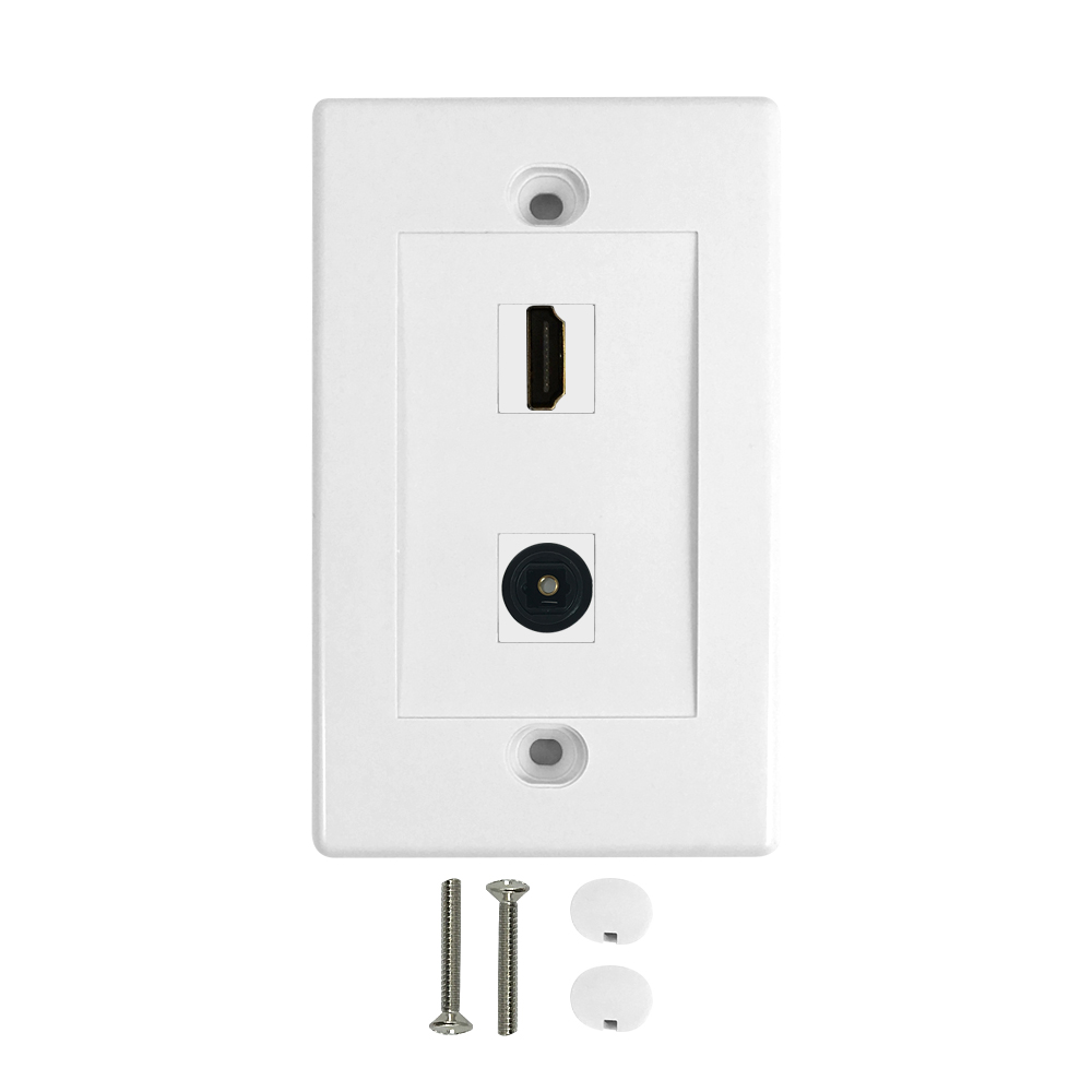 HF-WPK-HT1: 1-Port HDMI + 1-Port Toslink Wall Plate Kit - White