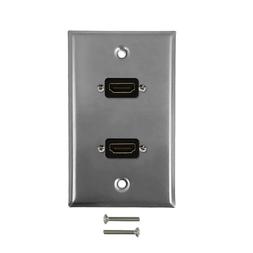 HF-WPK-SH2: 2-Port HDMI Wall Plate Kit - Stainless Steel