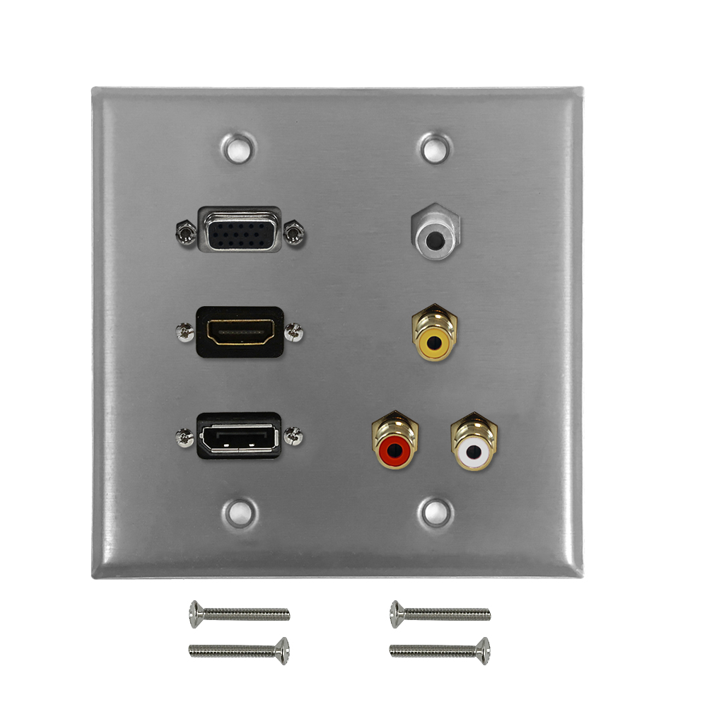 HF-WPK-SS-209: VGA, HDMI, DisplayPort, 3.5mm, RCA Composite + Left/Right Audio Doublegang Wall Plate Kit - Stainless Steel