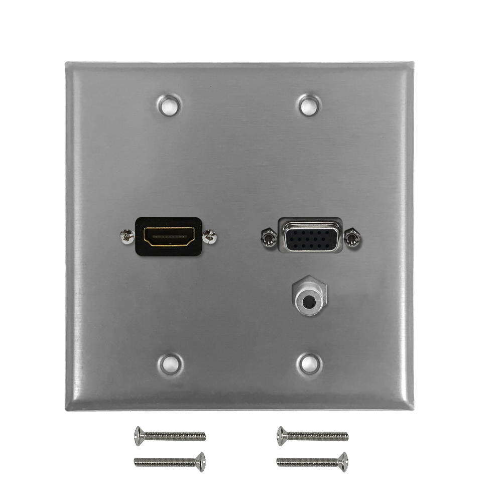 HF-WPK-SS-210: VGA, HDMI, 3.5mm Double Gang Wall Plate Kit - Stainless Steel