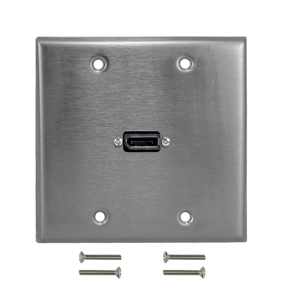 HF-WPK-SS-213: DisplayPort Double Gang Wall Plate Kit - Stainless Steel