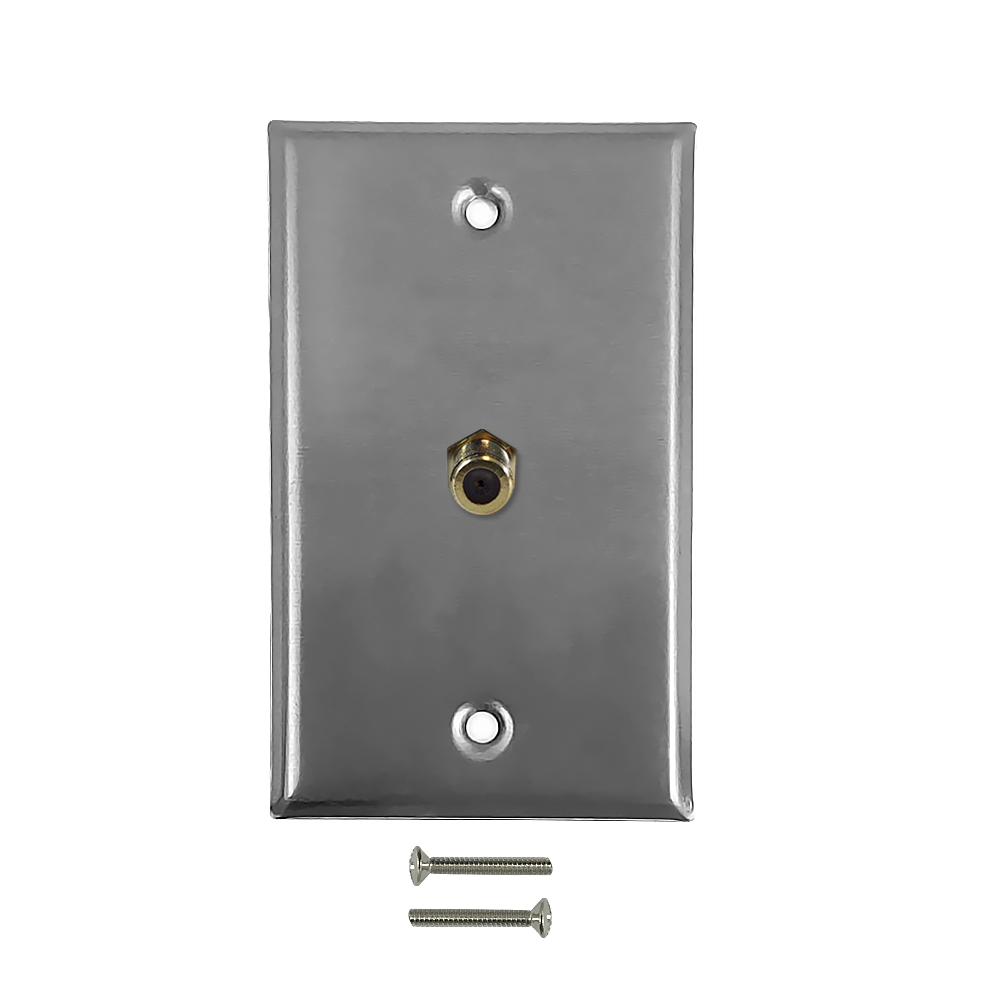 HF-WPK-SSF: Coax F-Type Single Gang Wall Plate Kit - Stainless Steel