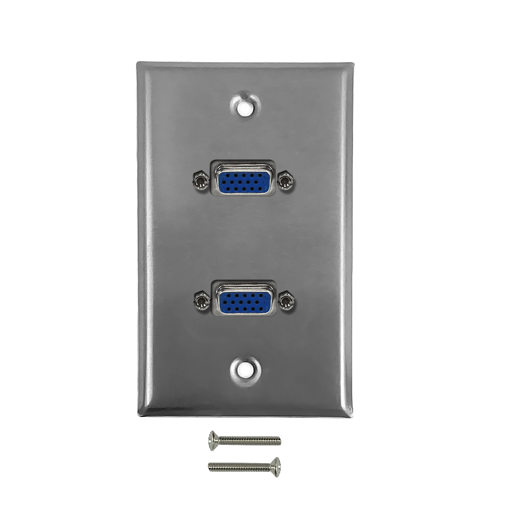 HF-WPK-SV2: 2-Port VGA Wall Plate Kit - Stainless Steel