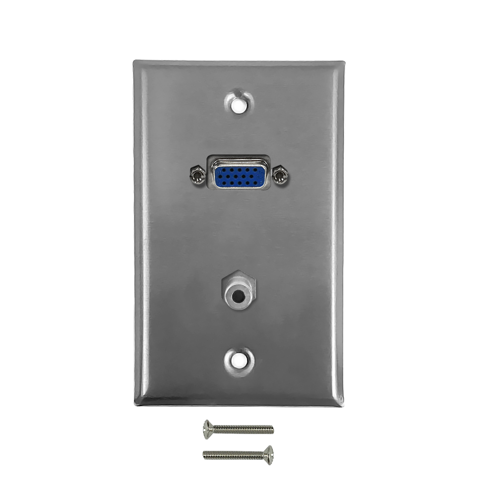 HF-WPK-SVA: VGA, 3.5mm Single Gang Wall Plate Kit - Stainless Steel