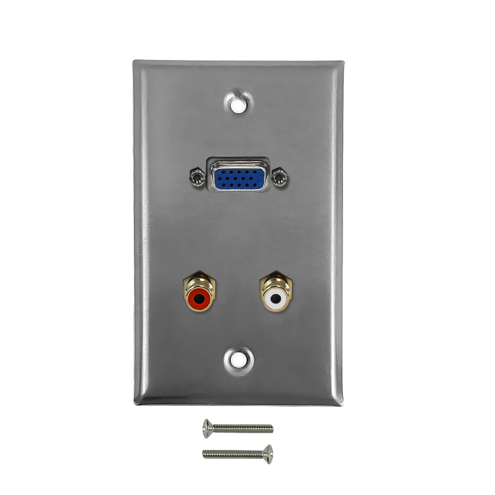 HF-WPK-SVR: VGA, RCA Left/Right Audio Single Gang Wall Plate Kit - Stainless Steel