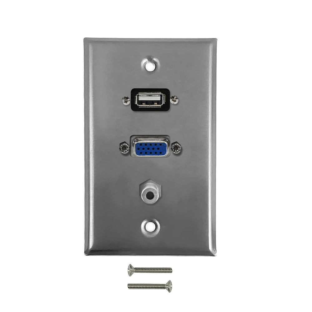 HF-WPK-SVUA: VGA, USB, 3.5mm Single Gang Wall Plate Kit - Stainless Steel