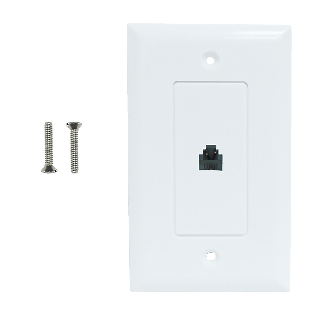 HF-WPK-T1-WH: Single gang decora style telephone wall plate 6P4C - White