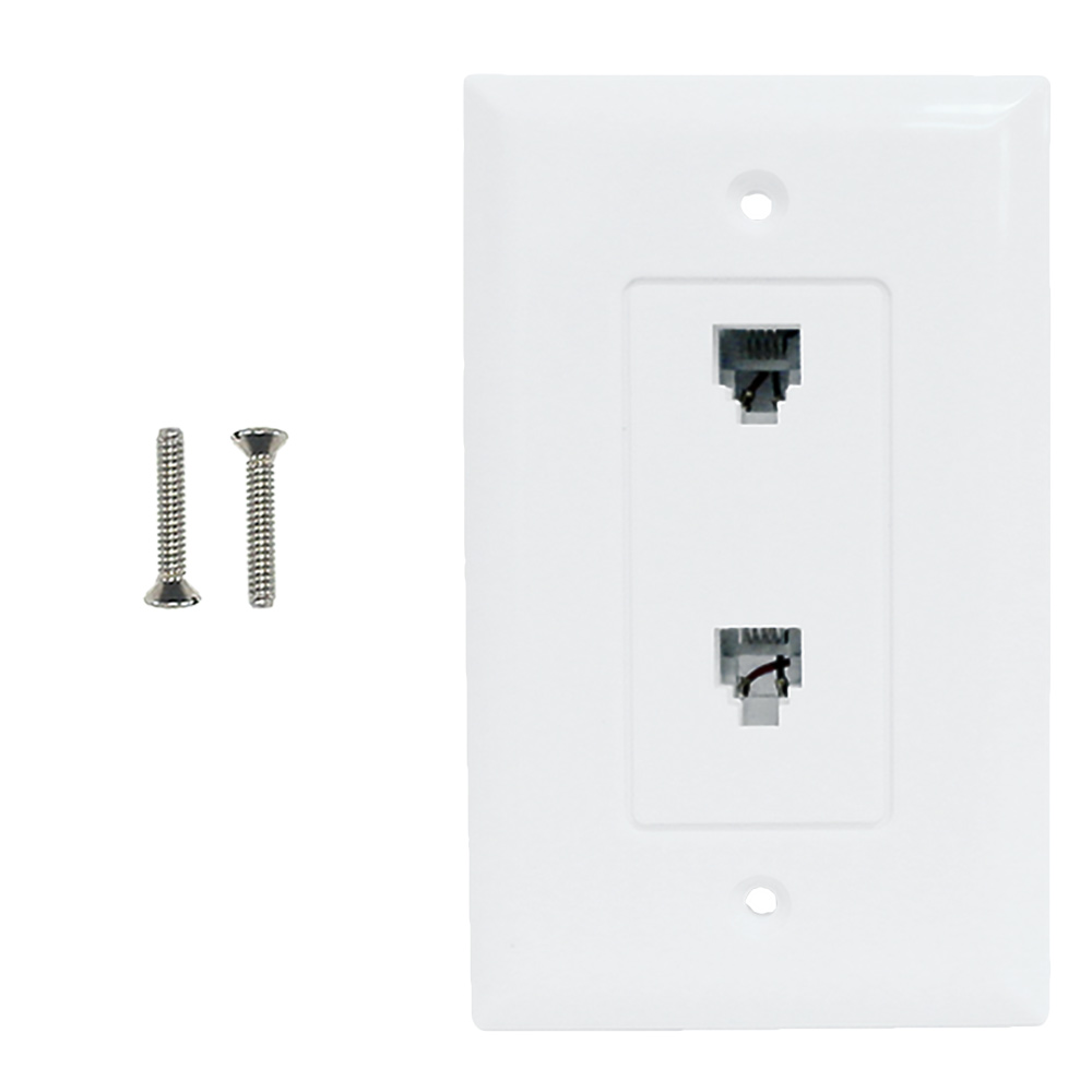 HF-WPK-T2-WH: Single gang decora style 2x telephone wall plate 6P4C - White